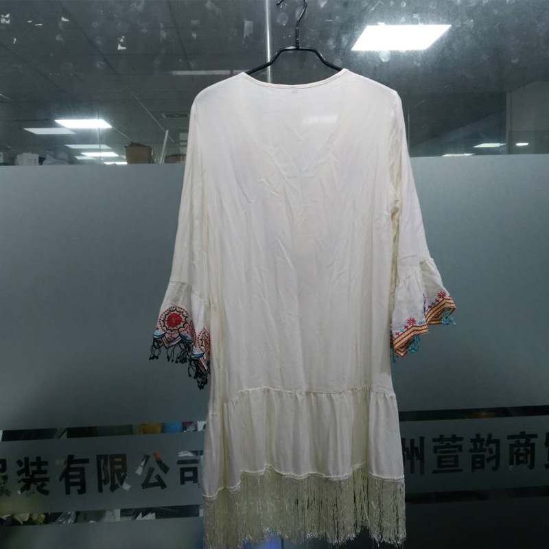 tassel stitching trumpet sleeve ethnic embroidered dress NSSE35220