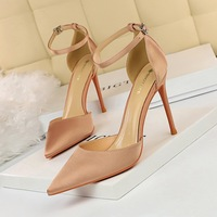 9863-5 European and American simple high-heeled silk shallow mouth pointed hollow sexy night club show thin word with sandals