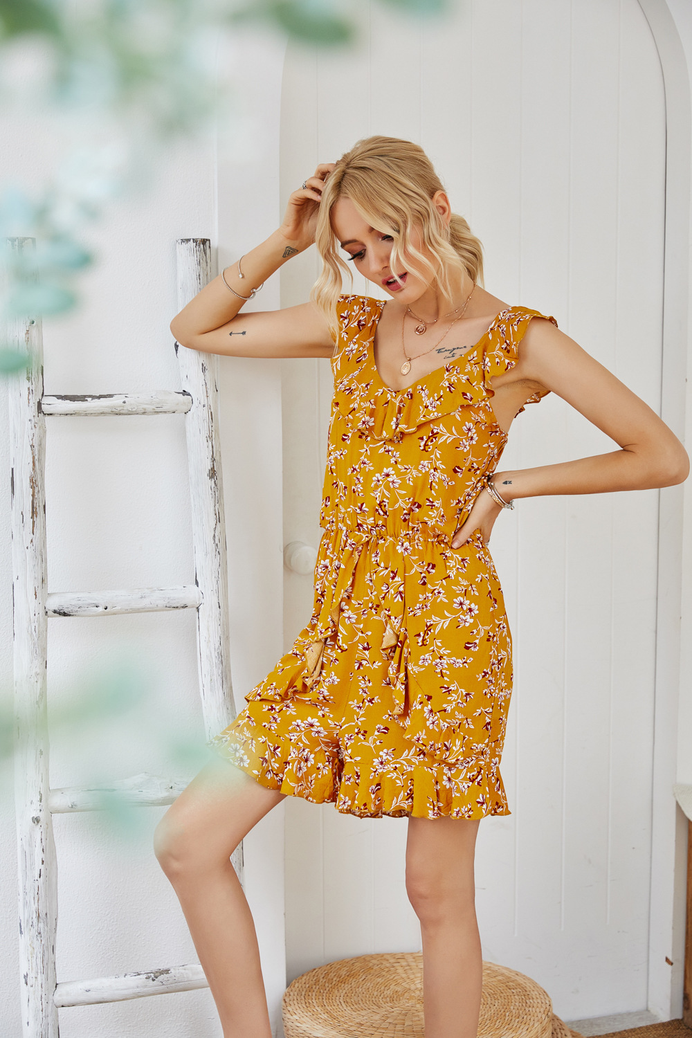 summer new V-neck yellow open back ruffled fungus pleated slim suspender jumpsuit  NSDF115