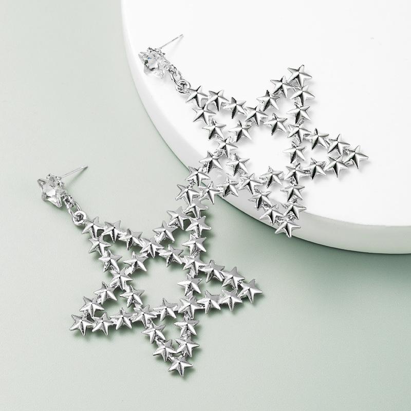 nouvelles boucles d39oreilles en alliage de style chinois toile  cinq branches en or exagr S925 boucles d39oreilles en argent NHLN256970