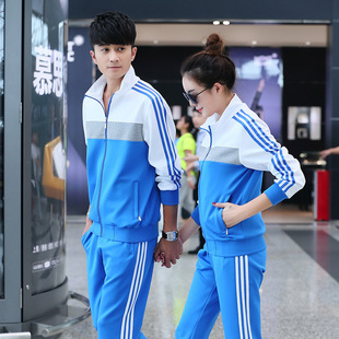 Spring and autumn men's plus size knitted sweater suits women's casual morning exercise clothes couple autumn class clothes customization