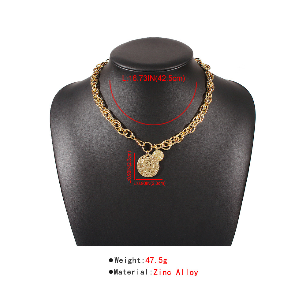fashion jewelry creative alloy letter head pendant necklace fashion punk style necklace wholesale nihaojewelry NHMD221024
