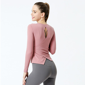 Seasonal yoga clothes women's fitness top tight back sports long sleeve T-shirt