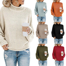 2020秋冬新款针织衫欧美外贸女装亚马逊爆款粗线高领套头毛衣女