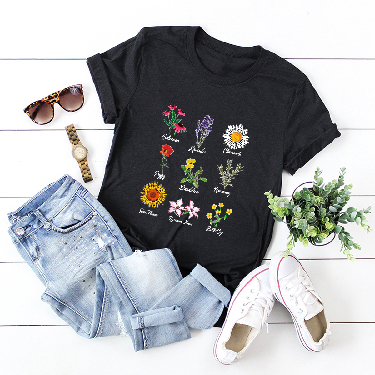 flowers daisy printed cotton short-sleeved t-shirt women NSSN2701