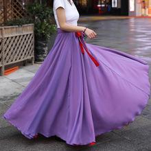 品質款2020夏季波西米亞清新甜美女裝雪紡大擺裙半身裙產地貨源