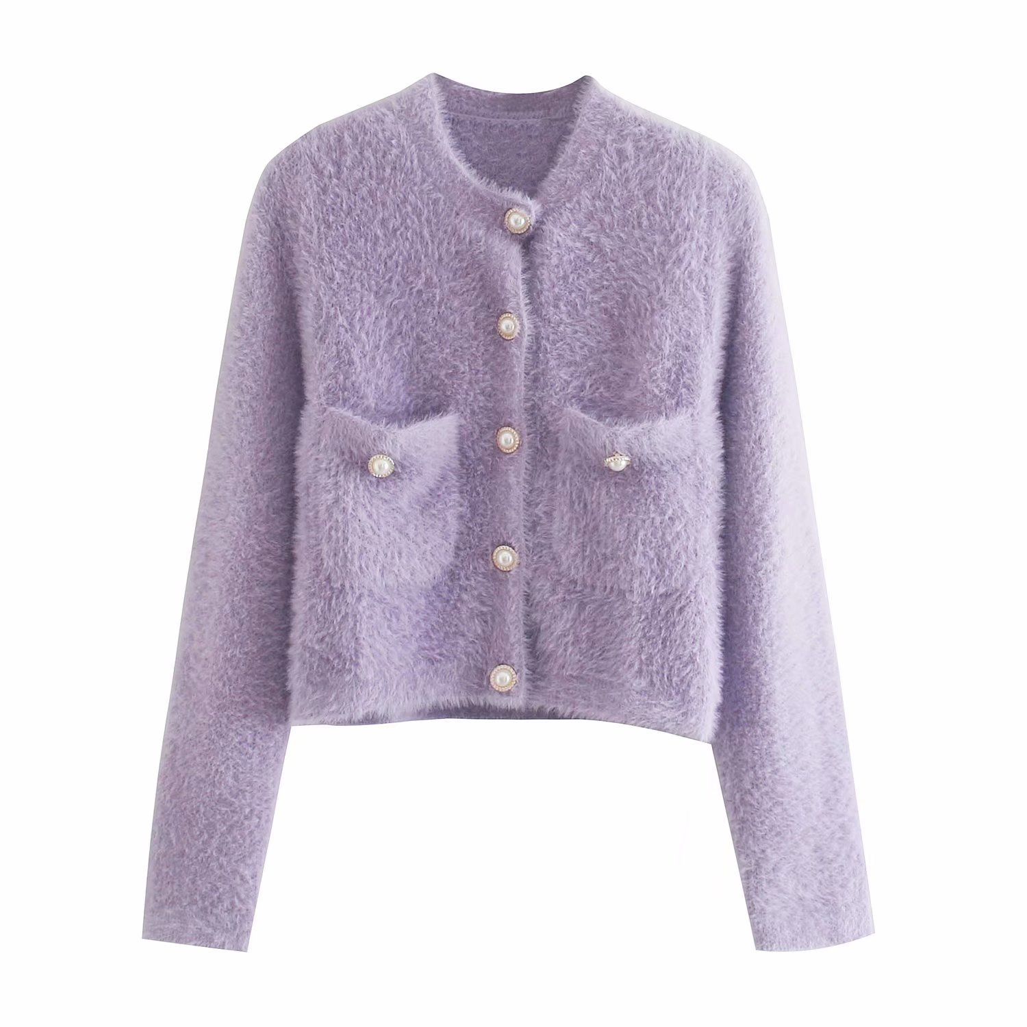 winter new women's pearl buckle long-sleeved soft waxy plush thick knitted jacket  NSAM2289