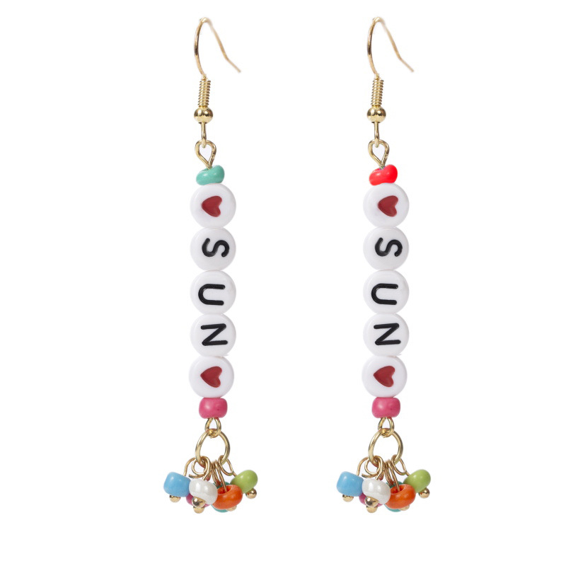 long letter SUN rice bead earrings for women earrings trend hand-woven earrings NHLA238085