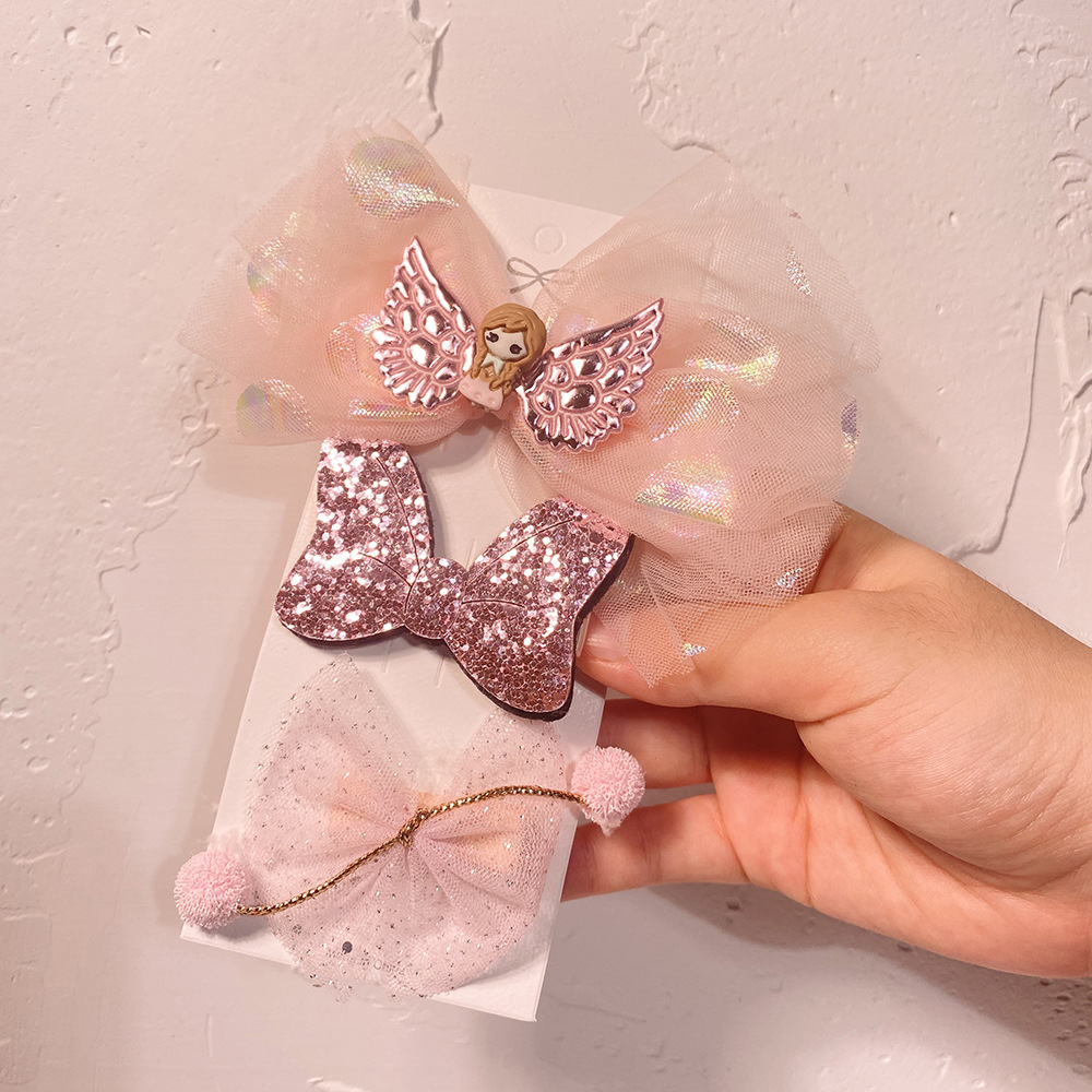 Korea new net yarn bow hairpin childrens hairpin crown ice and snow bangs BB side clip hair accessories NHCL263611