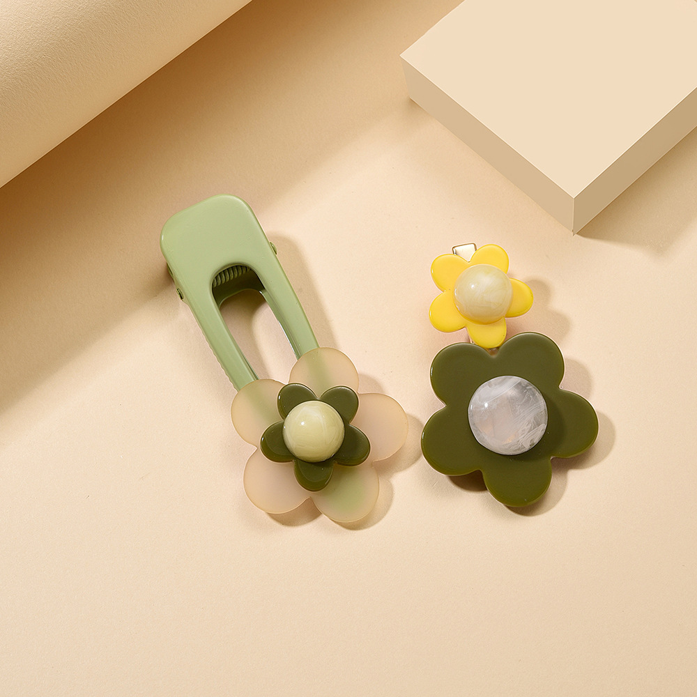 Korean new fashion hairpin two-piece candy-colored flowers cheap hairpin wholesale NHMD209198