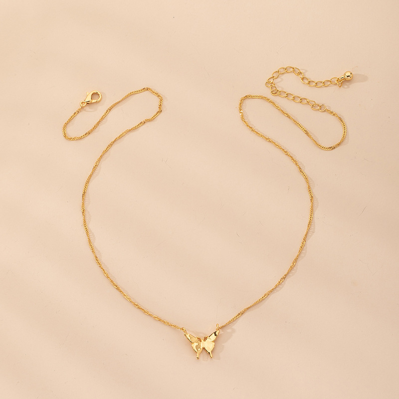 simple alloy  long butterfly pendant new necklace NHAI242913