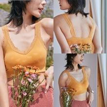美背文胸性感裹胸厚墊無鋼圈抹胸蕾絲卡卡同款美背內衣網紅背心女