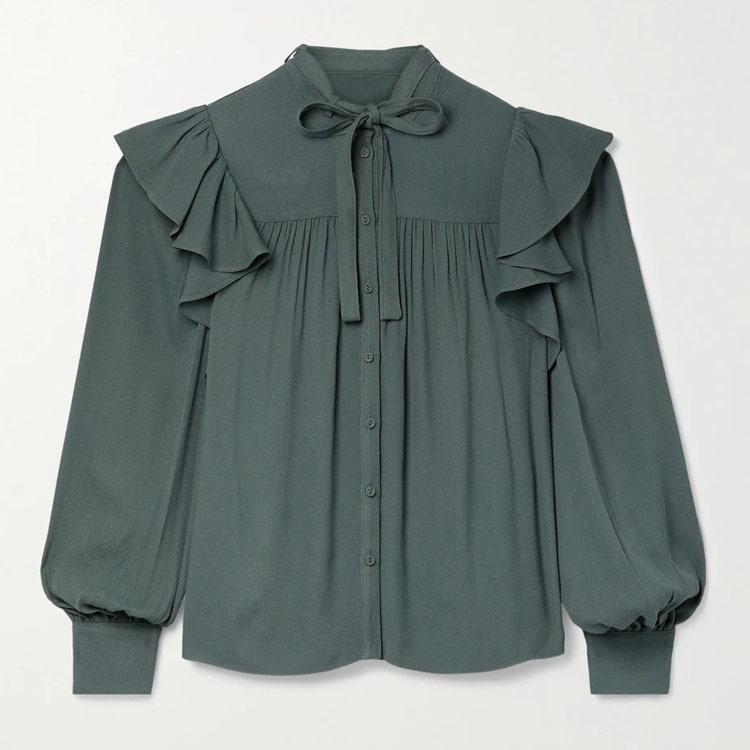 淘工厂  蝴蝶领结绉纱衬衫定做 长袖上衣来图来样加工 包工包料