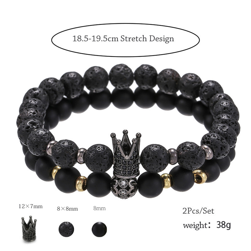 hot-selling jewelry frosted lava stone wear zircon high crown separation beads elastic suit bracelet  wholesale nihaojewelry NHZU221390