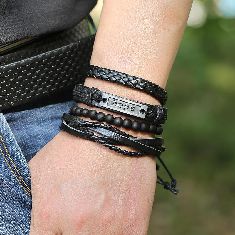 New jewelry retro woven cowhide bracelet DIY combination suit leather jewelry wholesale nihaojewelry NHPK222277
