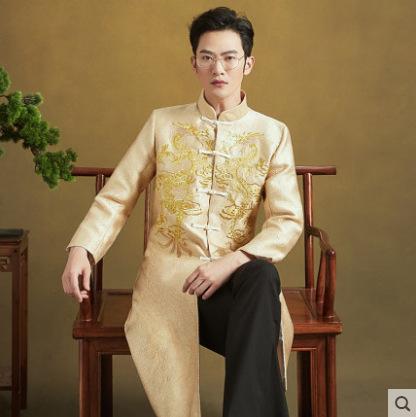 男士秀禾服新郎2020新款中式结婚男款秀和服金色马褂式秀禾唐装男