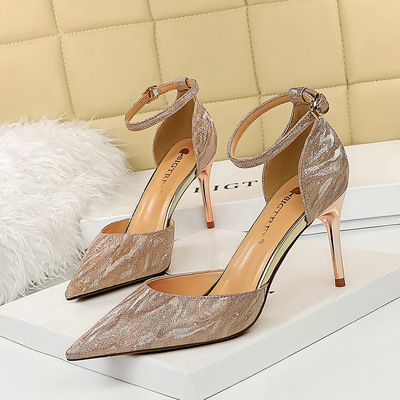 283-A61 European and American wind hollow fashion women's shoes high heel with shallow pointed mouth shining sequins s