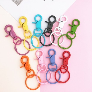 New diy color keychain handmade key ring bag jewelry accessories girl heart painted lobster clasp
