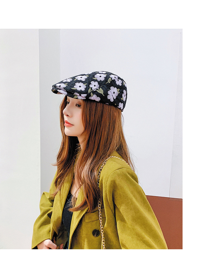 embroidered flowers beret hat  NSTQ21415