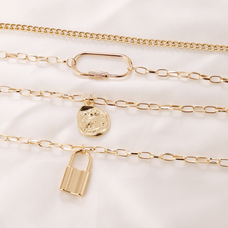 fashion new simple coin head lock multilayer necklace  NHBW341734
