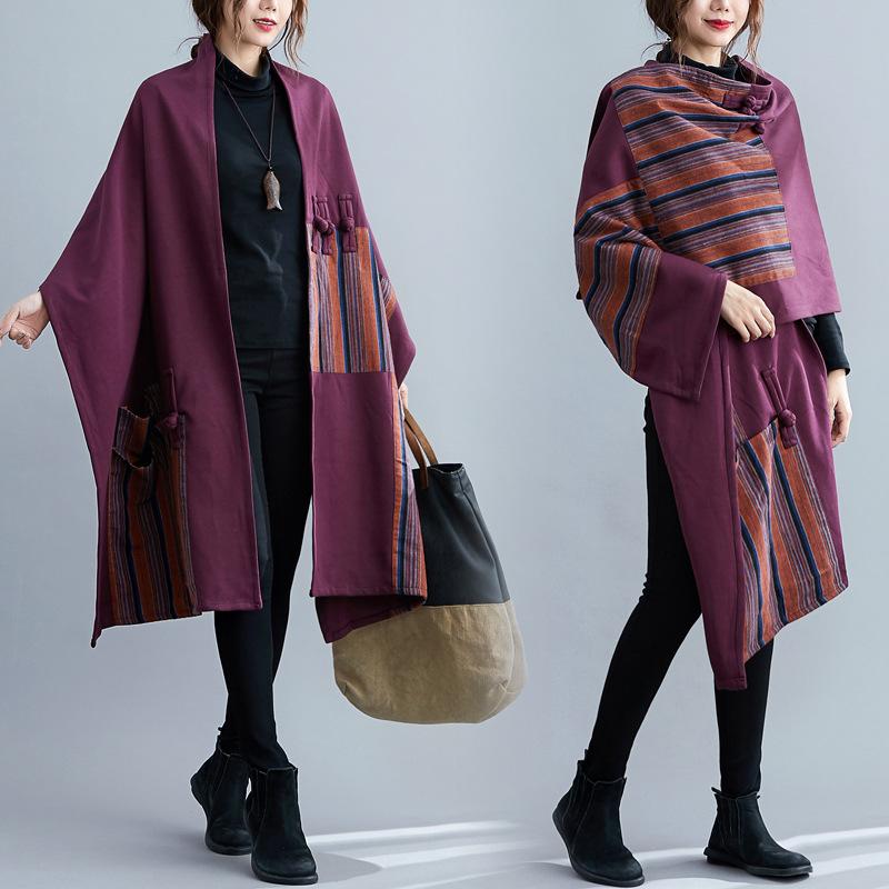 民族风披肩斗篷秋冬大码女装胖MM大围巾两用超大保暖披肩外套