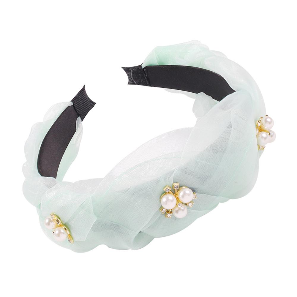 Fashion Light Gauze and Diamond Color Headband Imitation Pearl Headband Hair Accessories Wholesale NHMD200444