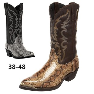 Aofu Shoes High-heeled Iron Toe Western Cowboy Boots Couples European and American Men and Women 38-48 Printed Snake Print Mid-Tube Boots