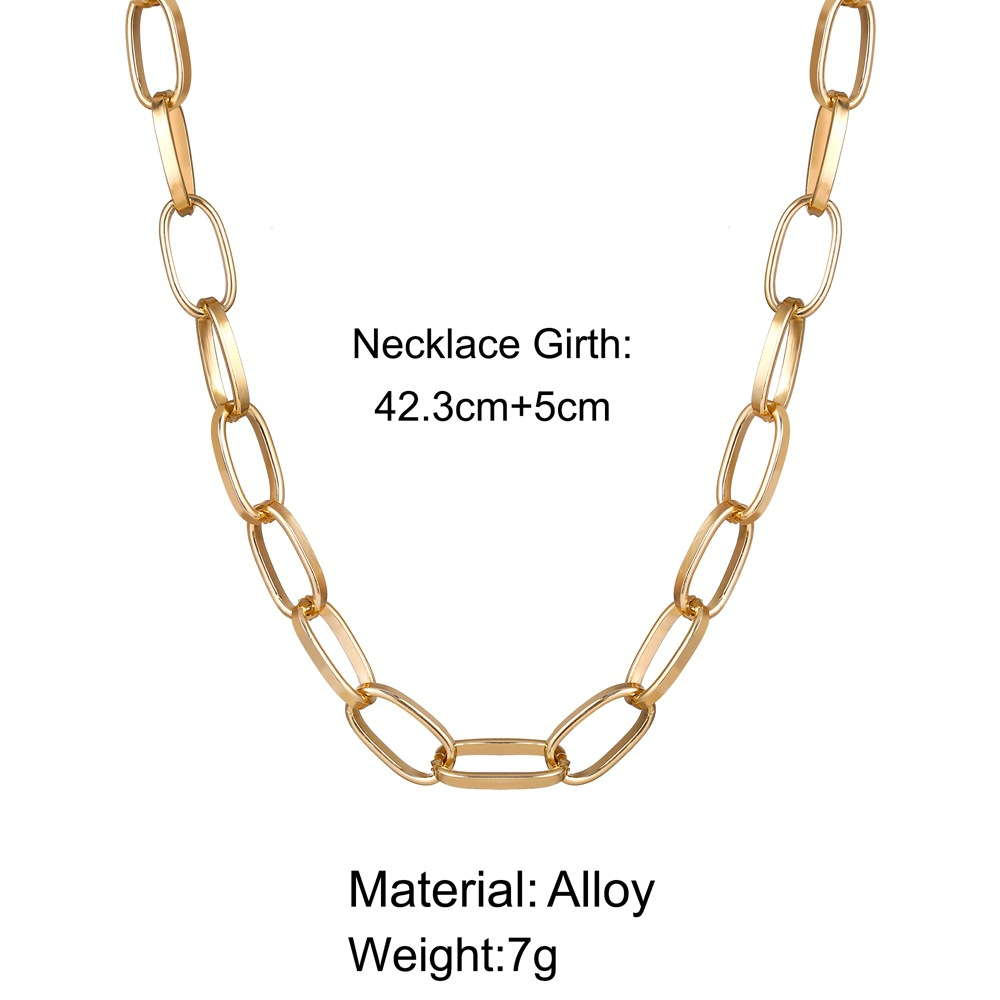 hot sale punk style short thick chain clavicle chain creative retro simple necklace wholesale nihaojewelry NHYI221606