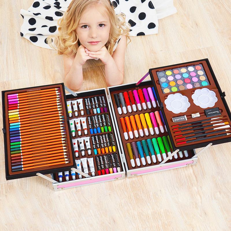 200PC画笔蜡笔绘画套装儿童小学生学习用品画画套装 水彩笔套装