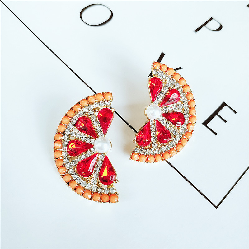 Fashion women's earring new fashion fruit alloy diamond earrings grapefruit earrings NHVA201106