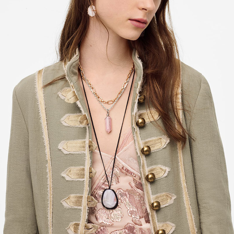 Simple twolayer stone necklace trendy wild necklace nihaojewelry wholesale NHLA213803