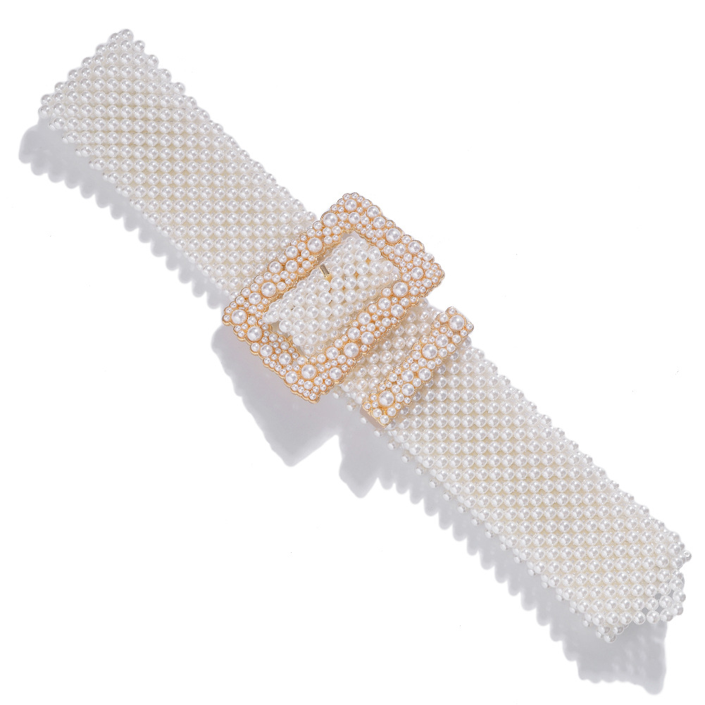 Alloy pearl belt fashion wild belt exaggerated clothing accessories NHJQ195442