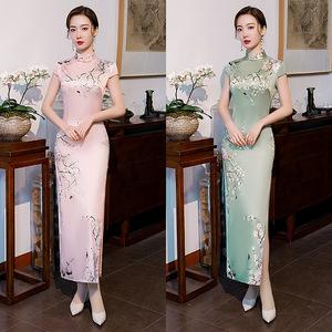 Chinese Dresses Qipao for women robe chinoise cheongsam Short sleeve cheongsam retro standing collar long cheongsam dress
