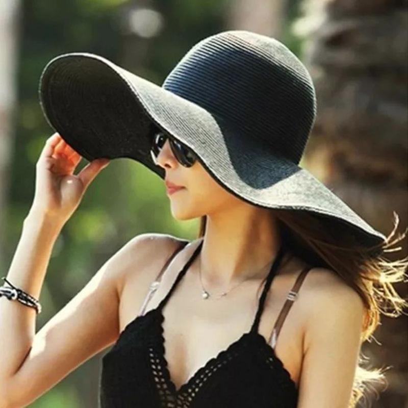 光板大沿帽子女遮阳帽夏季防晒透气太阳帽海边大檐沙滩帽折叠草帽