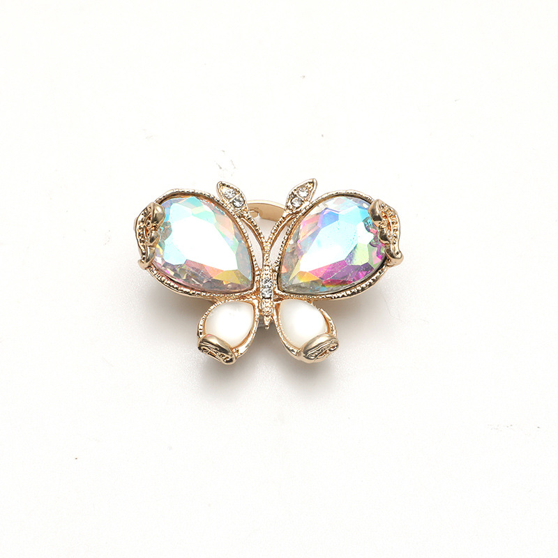 new  simple color AB diamond butterfly adjustable ring NHKQ283473