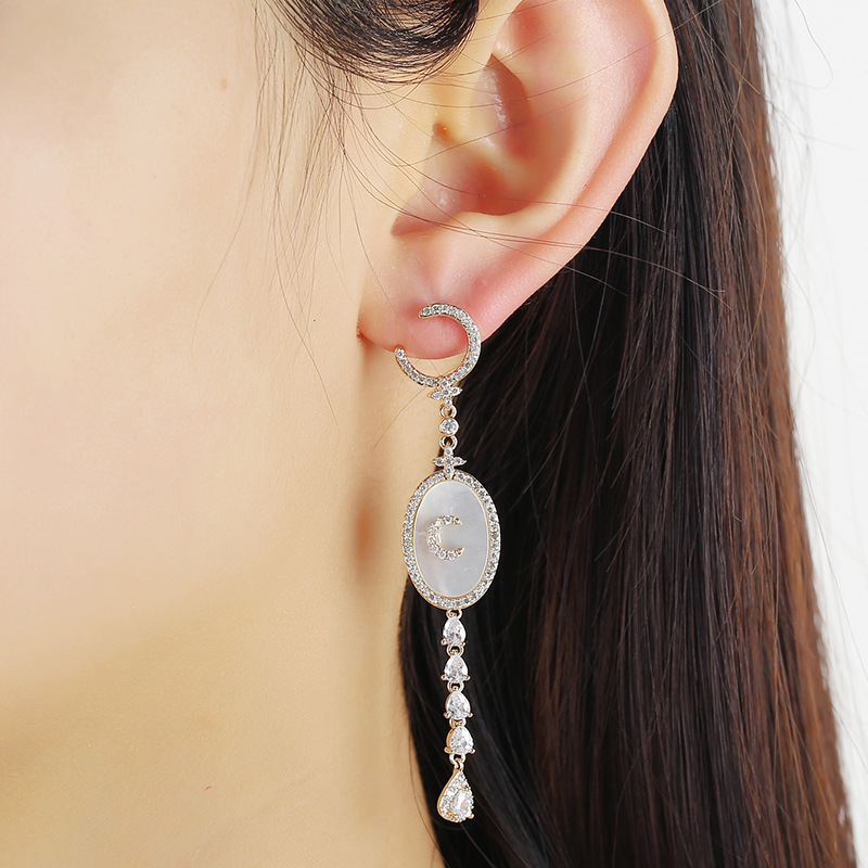 Xingyue asymmetric long tassel S925 silver needle inlaid with Hao Shi fashion personality earrings NHKQ199046