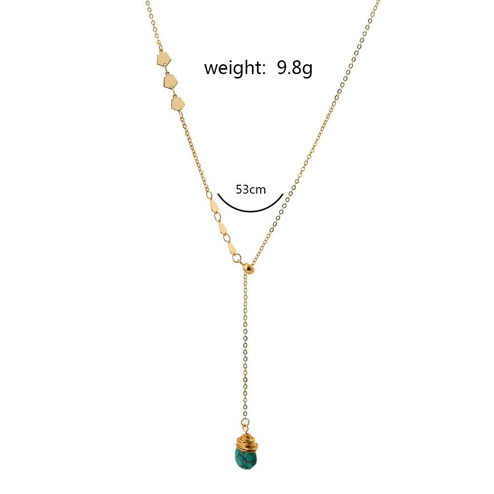 Korea  Y-shaped long simple natural turquoise necklace NHAN280087