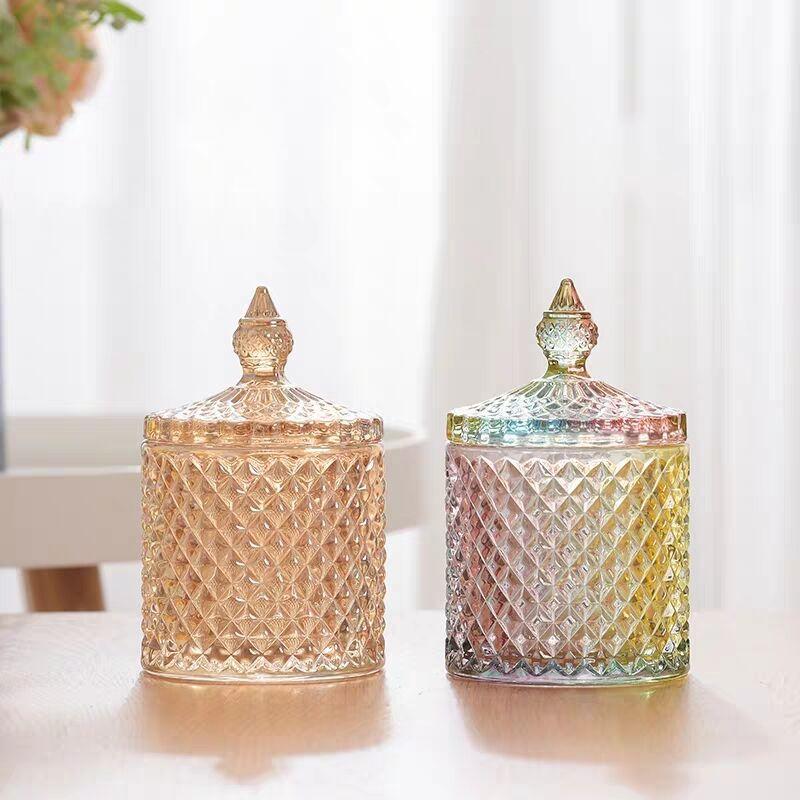 彩色玻璃糖果罐欧式罗马带盖零食罐首饰盒带盖糖果盅储物罐玻璃