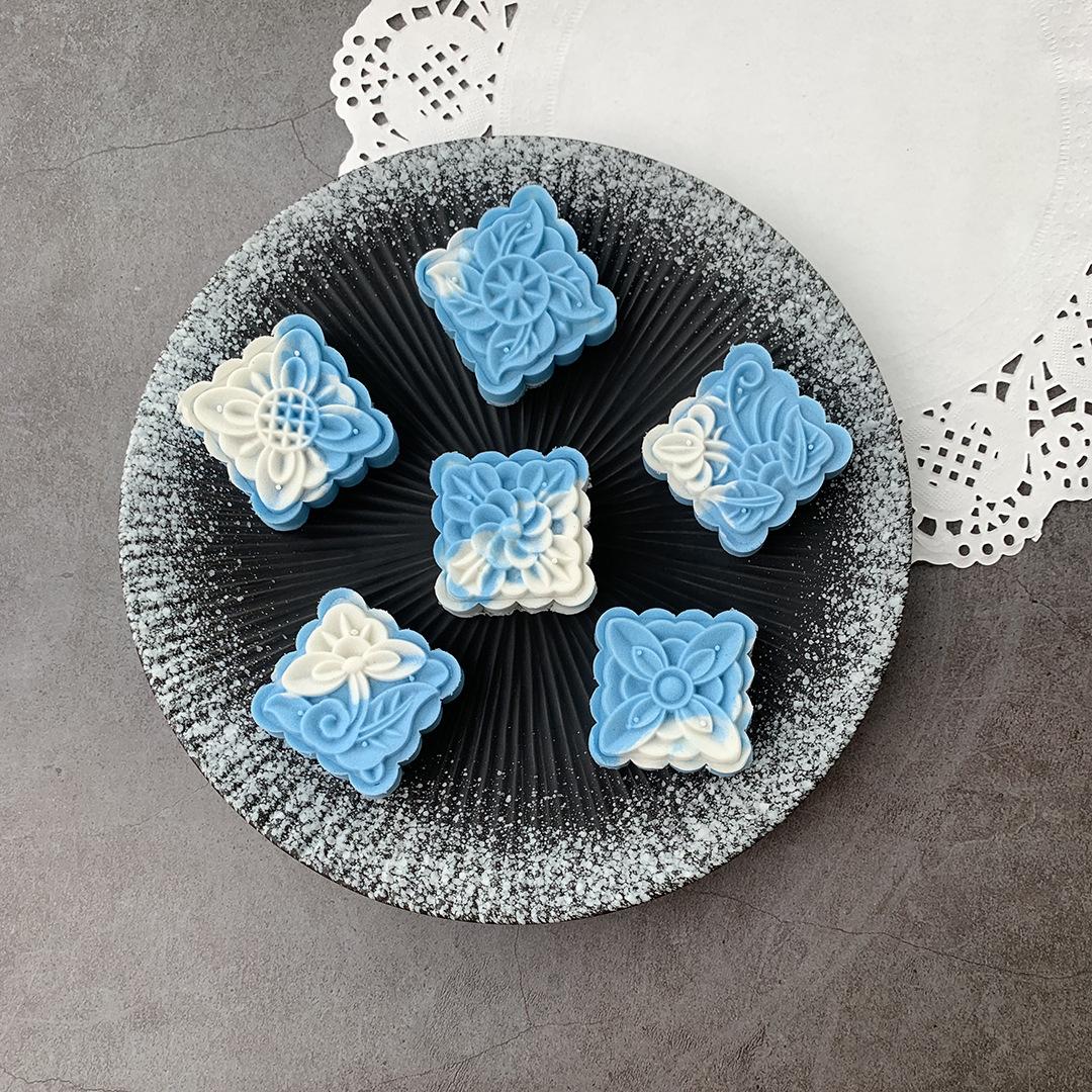 50克方形广式桃山冰皮中秋月饼模具1模6片套装 花草线条绿豆糕模