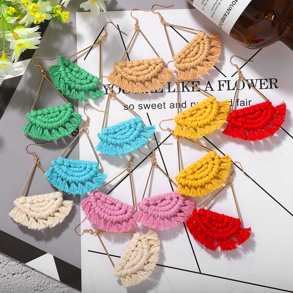 New tide bohemian fan-shaped tassel earrings hot fashion seaside holiday hand-woven earrings wholesale nihaojewelry  NHJQ218872