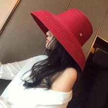 法式赫本風復古帽子鐘形大檐遮陽草帽沙灘度假凹造型女神帽韓版潮