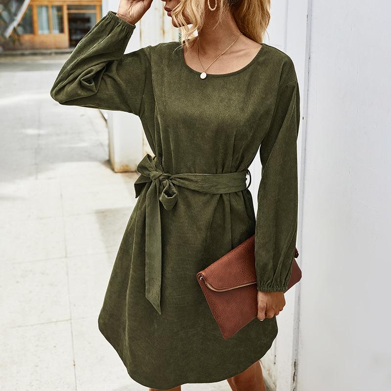 women's autumn and winter simple long-sleeved corduroy dress WHOLESALE NSKA286