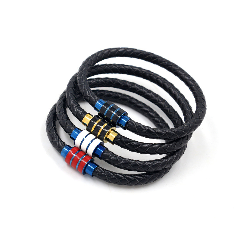 Fashion Men Stainless Steel Woven Leather Bracelet Titanium Steel Magnetic Buckle Bracelet Wholesale NHHM199905
