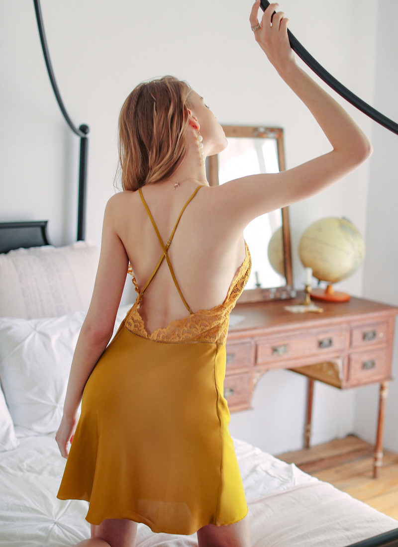 women summer lace suspenders nightdress hollow backless sexy pajamas NSMR6990