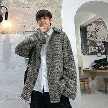 秋季复古毛呢外套男士韩版潮流中长款大衣ins港风原宿风夹克上衣