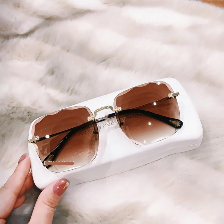 Frameless sunglasses cut edge ladies new tide with the same retro sunglasses anti-UV sunglasses wholesale nihaojewelry NHKD218420