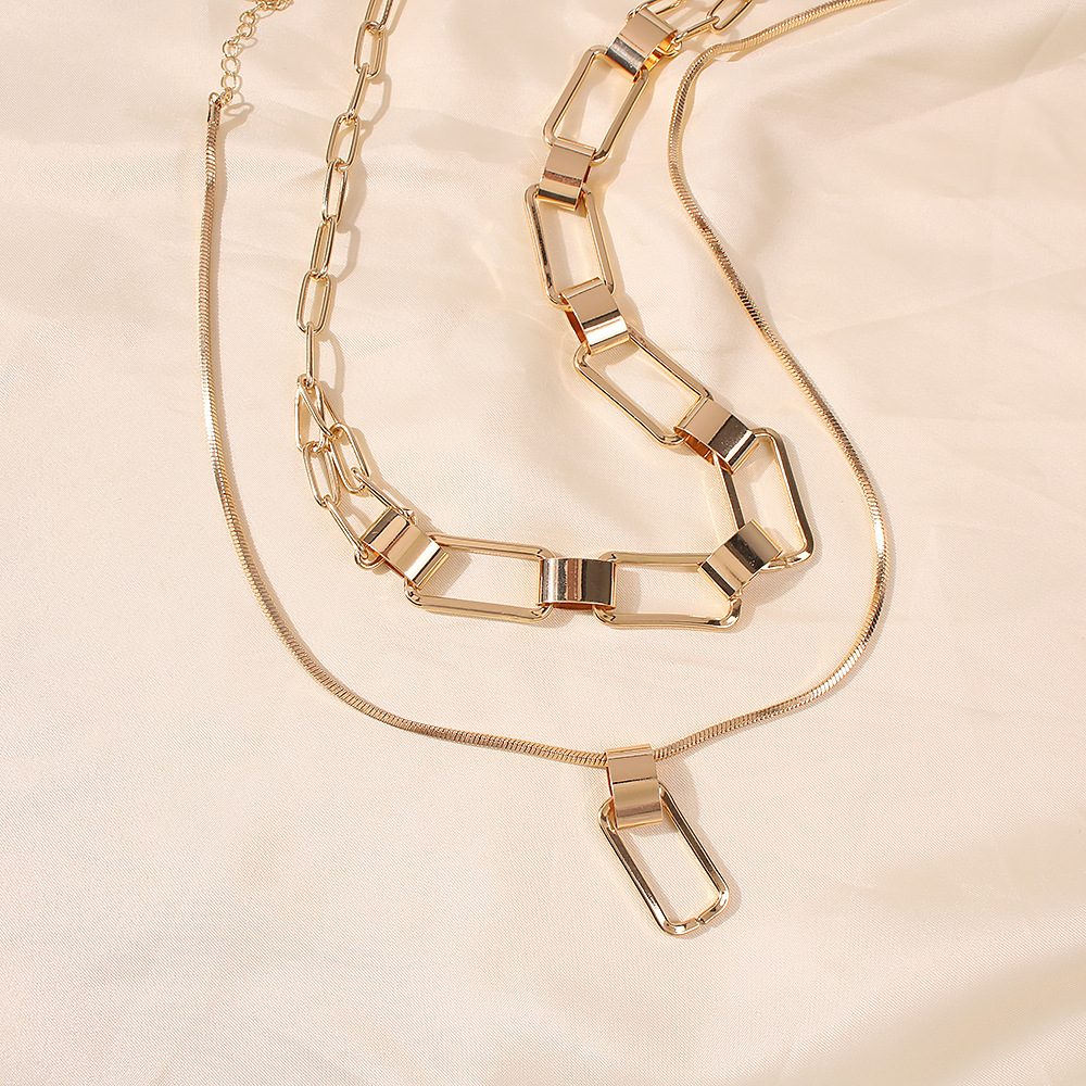 Fashion  exaggerated hip-hop lock pendant   multi-layer necklace NHMD254296