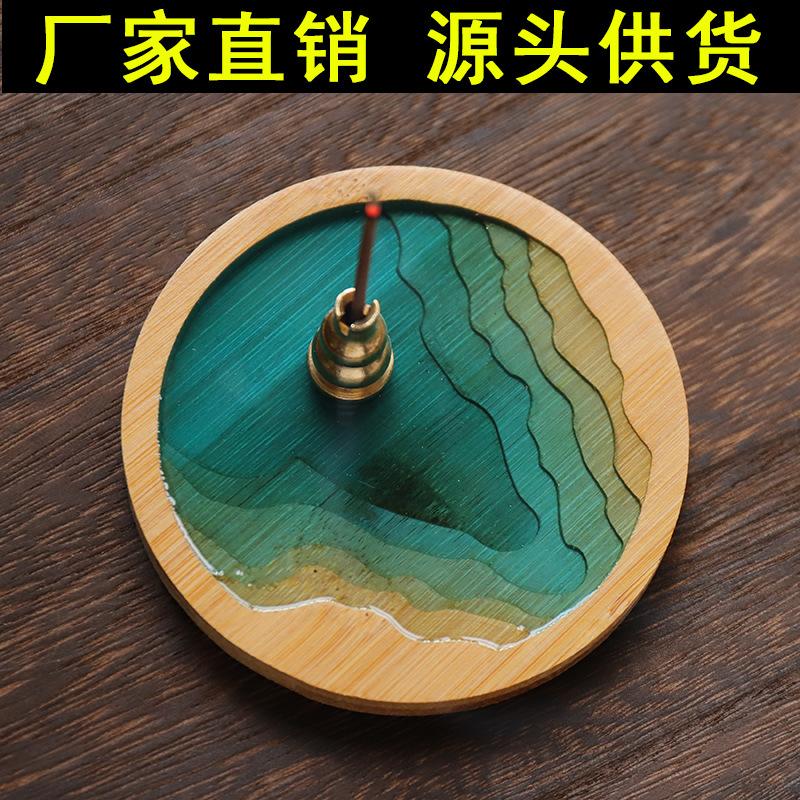 手工楠竹点香盘盘香架香托家用铜葫芦香插纯铜线香插香炉垫盘香架