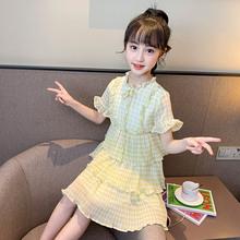女童夏季淑女格子連衣裙2020夏款新款中大童韓版洋氣女雪紡蛋糕裙