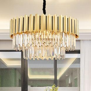 После современный свет экстравагантный хрустальный фонарь золото не нержавеющая сталь гостиная спальня магазин вытянутый вилла модель между круглый люстра